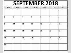 September Calendar 2018 By Month Printable – Printable