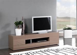 Meuble Tv Tendance : meuble tv design 2 portes 2 tiroirs laqu taupe melvie ii ~ Premium-room.com Idées de Décoration