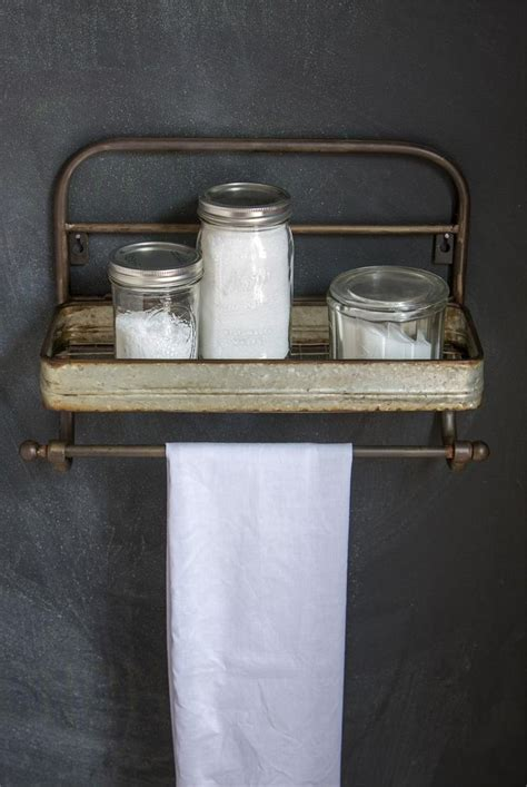 farmhouse metal shelf  towel rack vintage style metal