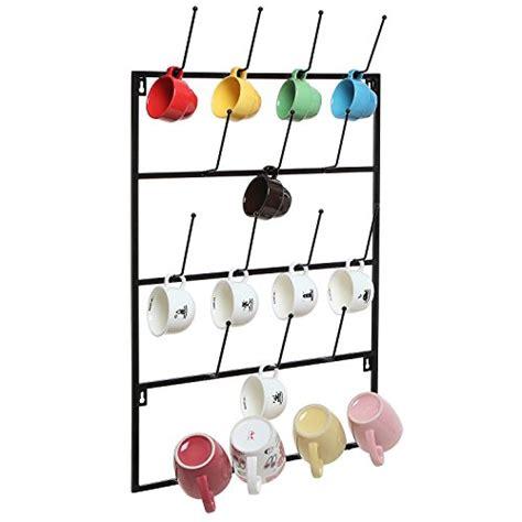 wall cup rack 5 tier black metal wall mounted kitchen mug hook display