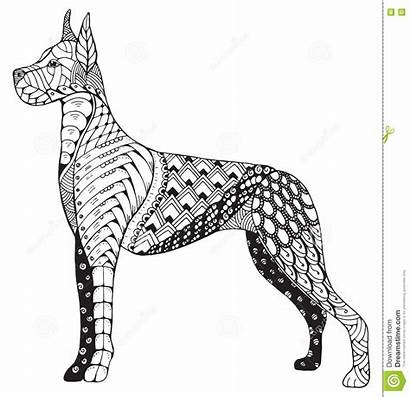 Dane Zentangle Dog Cane Zen Stilizzato Pencil