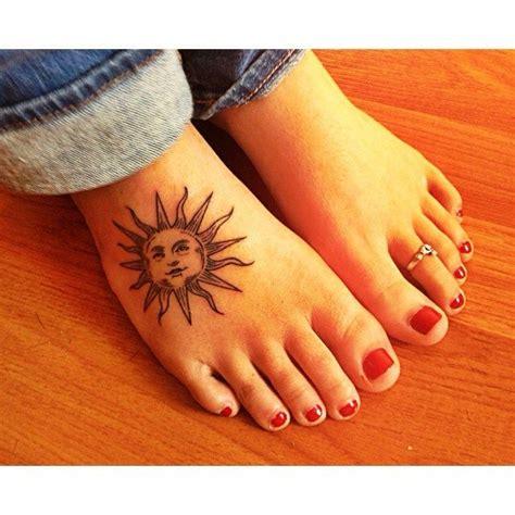 trendy sun foot tattoo design  women tattoos feet