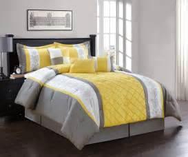 7 piece queen yellow gray white comforter set ebay