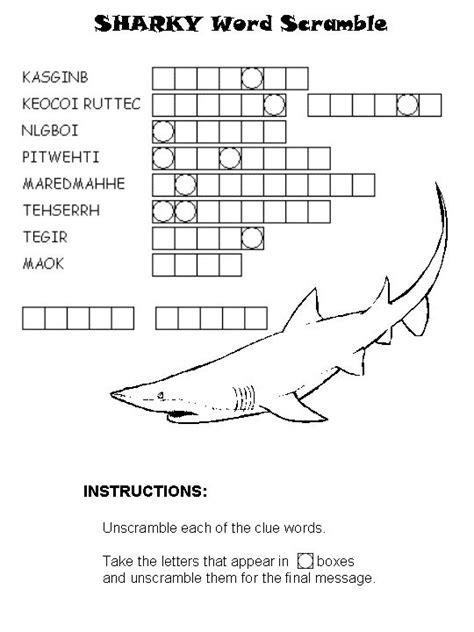 Shark Word Scramble  Shark Week 2012  Pinterest  Shark Activities, Sharks And Activities