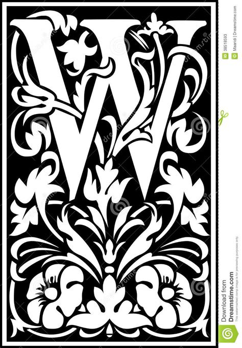 Flowers Decorative Letter W Balck And White Stock Vector