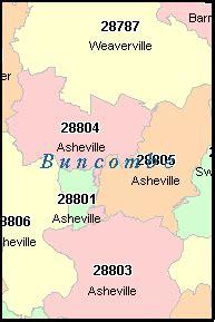 buncombe county north carolina digital zip code map