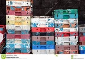 Fish crates plastic boxes stock image. Image of color ...