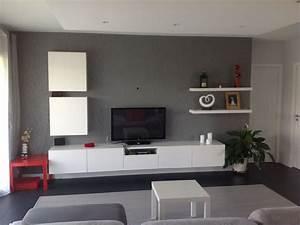 Mur Tv Ikea : salon fond papier peint gris et meuble blanc besta ikea maison lf par kali31 sur ~ Teatrodelosmanantiales.com Idées de Décoration