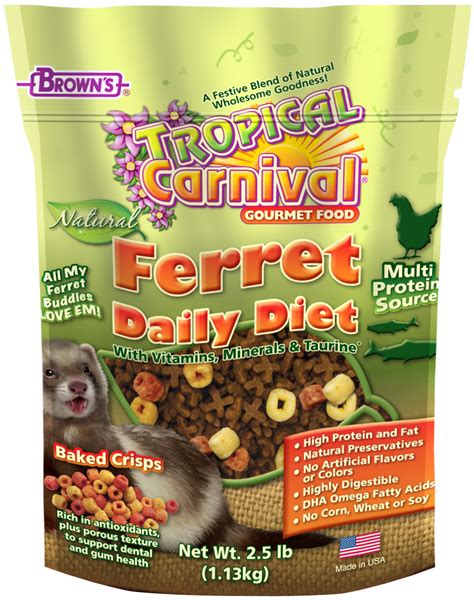 tropical carnival natural ferret fortified daily diet fm browns