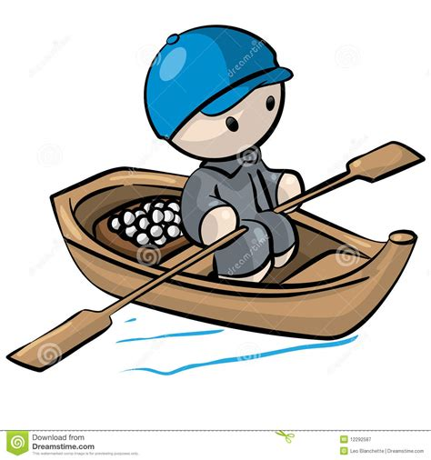 Little Boat Cartoon by Little Man In Rowboat Stock Illustration Illustration Of