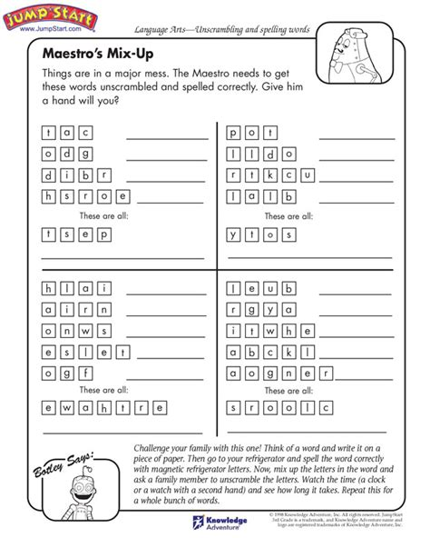 free language arts worksheets for