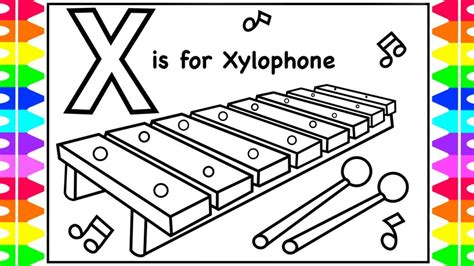 X For Coloring by Alphabet Coloring Page X Is For Xylophone Xylophone