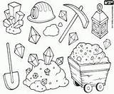 Mining Coloring Pages Gold Rush Panning Tools Crafts Miners Colouring Street Miner Mine Cartoon Equipment Theme Western sketch template