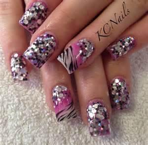 Pink and Purple Glitter Acrylic Nail Design