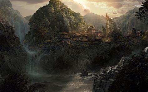 fantasy villages  fantasy mountain river village