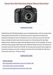 Canon Eos 40d Workshop Repair Manual Download By Antoniaaguilera