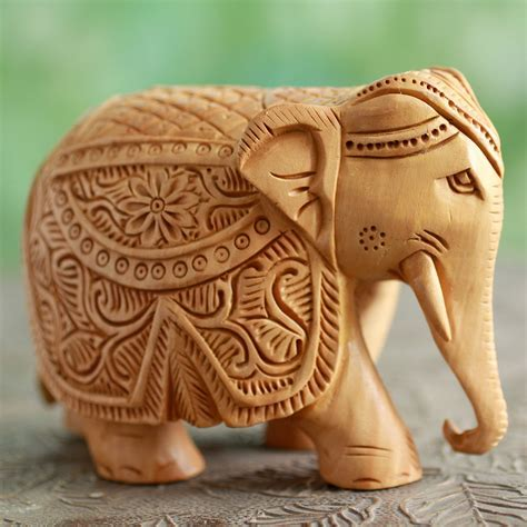 Majestic Elephant   Wood Elephant Sculpture Hand Carved in
