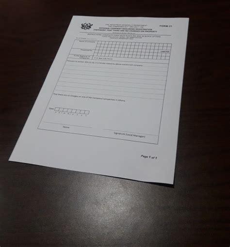 Company Registration Form Ghana by Registering An External Company In Ghana Firmus Advisory