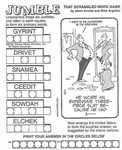Jumble Word Puzzle Puzzles Newspaper Daily Crossword