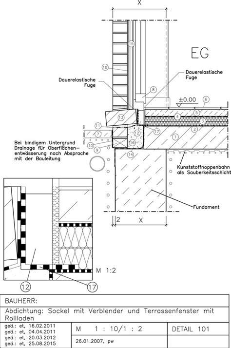 abdichtung sockel mit bodenstehendes terrassenfenster