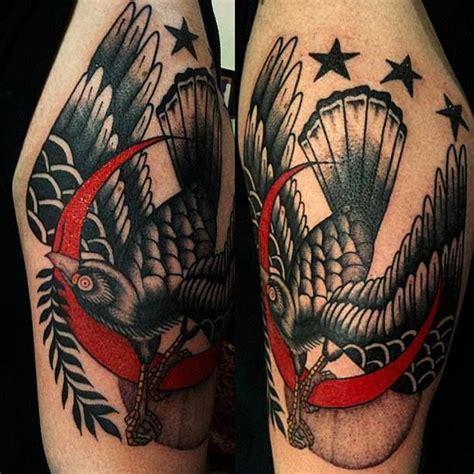 black bird red crescent moon tattoo  al boy tattoo tattoos traditional traditionaltattoo