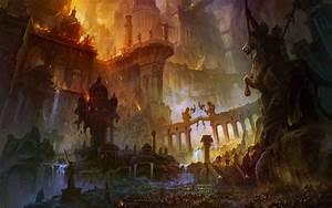 war, fire, destruction, bridges, fantasy art, horses ...