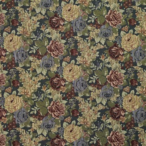 Upholstery Fabric by F925 Blue And Green Floral Tapestry Upholstery Fabric