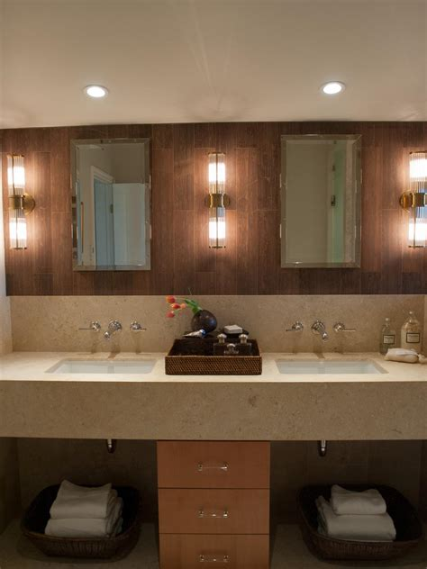 Modern Bathroom Tile Backsplash by Modern Vanity Bathroom With Wood Tile Backsplash Hgtv