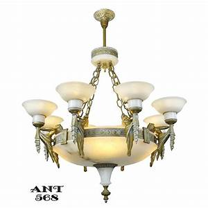 Art deco grand alabaster bowl chandelier antique eight