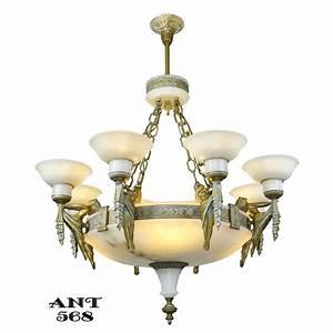 Art deco grand alabaster bowl chandelier antique eight