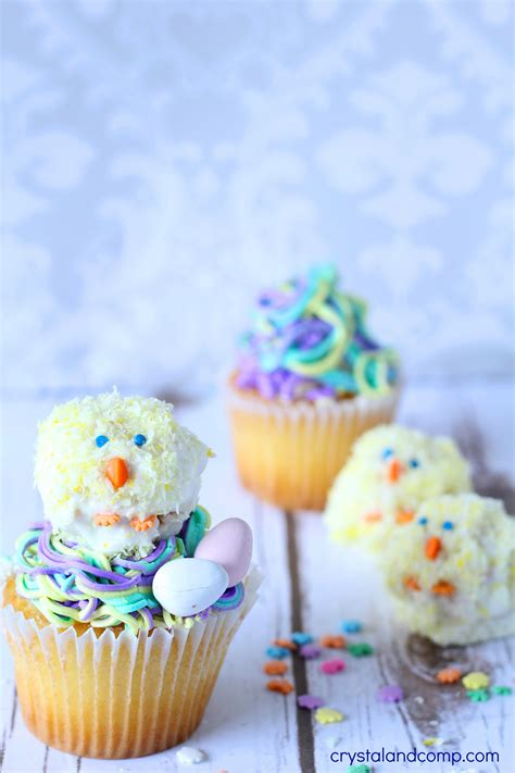 super easy   easter chick cupcake toppers