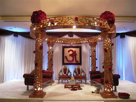 Traditional Indian Wedding Mandap With Large Red Rose