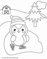 Coloring Winter Sheets Penguin sketch template