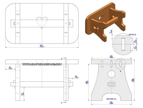 practical stool plan assembly drawing