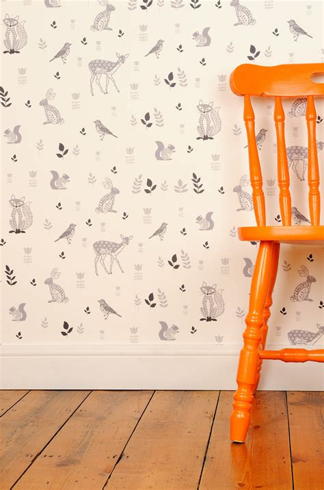 woodland animals wallpaper helen gordon