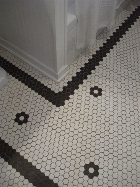 custom hex tile floor custom pattern   vintage