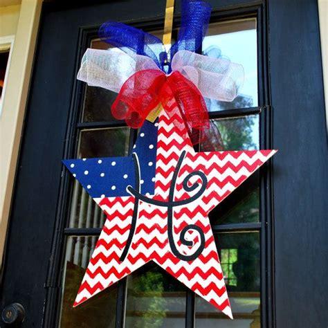 fourth  july door hanger   july wreath patriotic wreath patriotic star door decoration