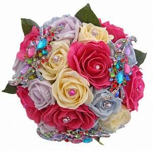 Multi Coloured Rose Brooch Bridal Wedding Bouquet