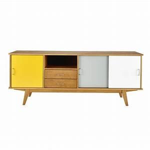 Buffet Scandinave Vintage : buffet vintage en bois jaune gris blanc l 180 cm paulette maisons du monde ~ Teatrodelosmanantiales.com Idées de Décoration