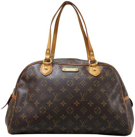louis vuitton montorgueil monogram gm brown canvas shoulder bag tradesy