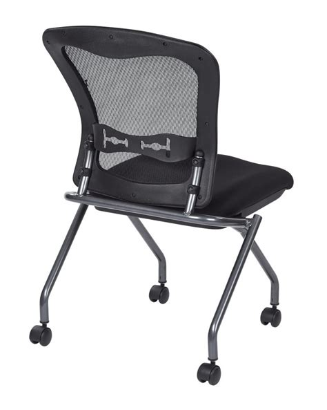 deluxe armless folding chair with progrid 174 back casters