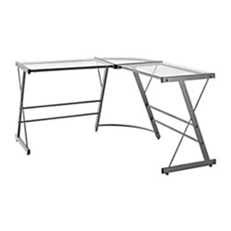 altra glass l shaped computer desk gray by office depot
