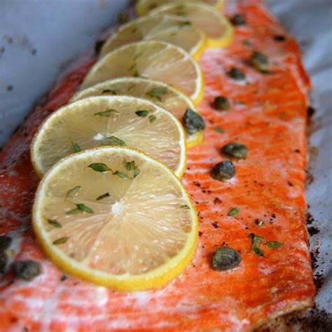 baked salmon recipes baked salmon with lemon and capers