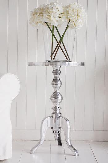 kensington polished metal silver side table white