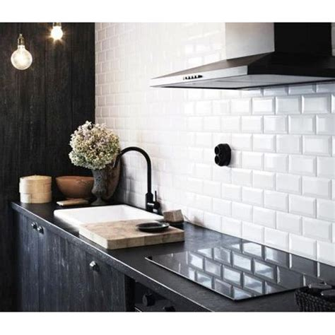 cheap white tiles kitchen 10x20cm metro white bevelled brick tile by fabresa tiles 5356