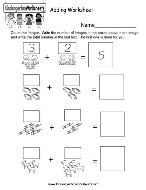 adding worksheet  kindergarten math worksheet  kids