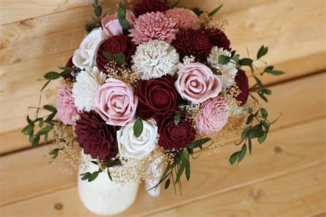 marsala burgundy dusty rose sola wood flower bouquet