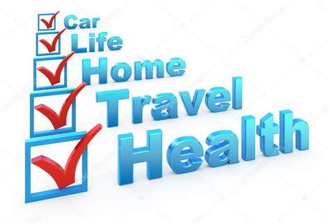 Health Insurance, Travel Insurance, Home Insurance, Life