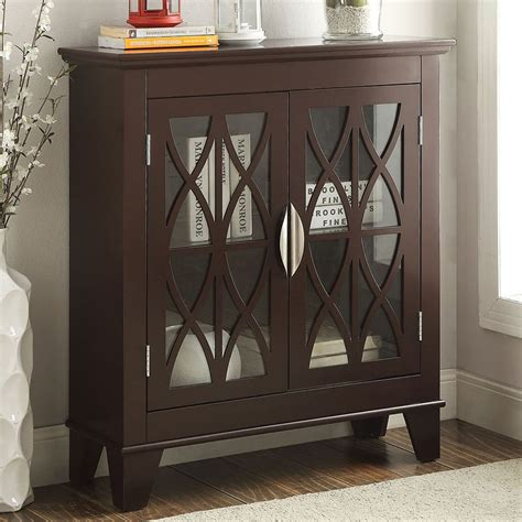 accent cabinet with doors accent cabinet w glass doors brown by coaster furniture