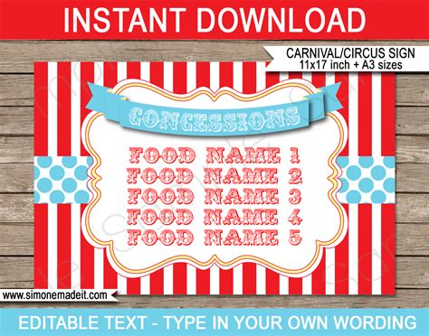 circus party printables invitations decorations